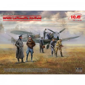 ICM DS4801 WWII Luftwaffe Airfield (Messerschmitt Bf 109F-4, Hs 126 B-1, German Luftwaffe Pilots and Ground Personnel (7 figures
