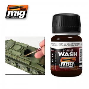 AMMO MIG 1005 DARK BROWN WASH FOR GREEN VEHICLES
